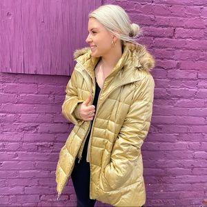 Lands End Gold Long Puffer Winter Coat